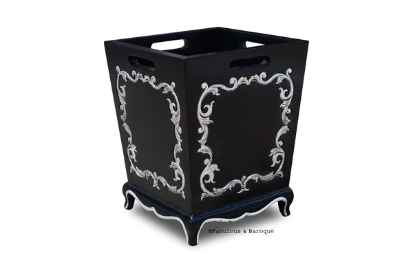 Arabella Baroque Waste Bin - Black & Silver
