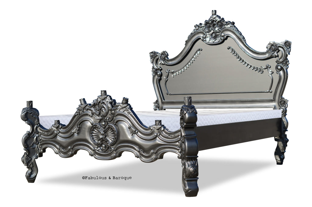 Royal Fortune Montespan Bed - Metallic Grey