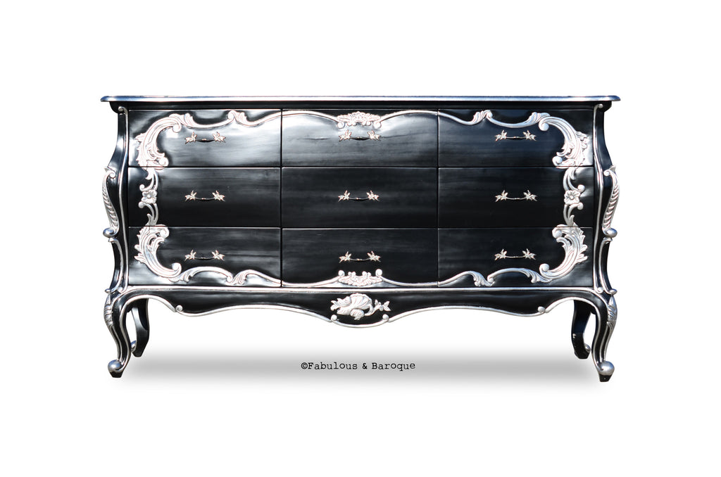 Night's Dream Chest of Drawers - Black & Silver