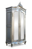 Emmanuelle 2 Door Mirrored Armoire - Silver Leaf