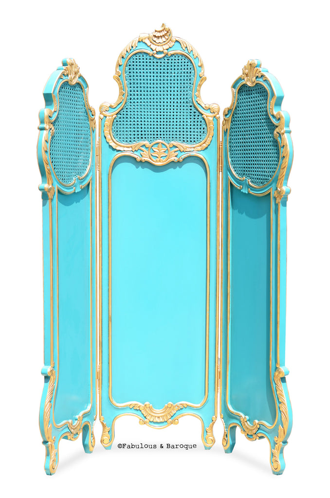 Gwenevere Dressing Screen- Gold Leaf & Aqua Mist