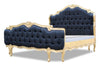 Elise French Upholstered Bed - Black & Gold