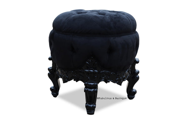 Gryphon Reine Dressing Table Pouf Chair - Black