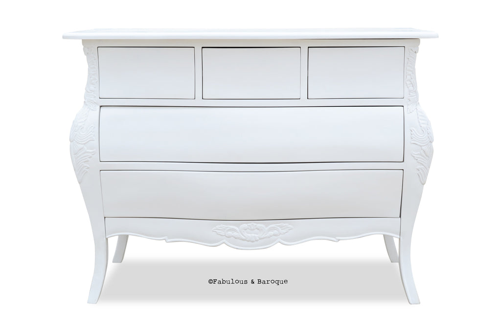 Bordeaux Bombay 5 Drawer Chest - White