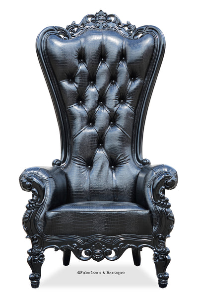 Absolom Roche Chair - Black Faux Croc w/ Silver Glitter