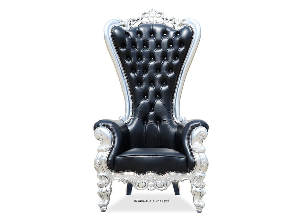 Gryphon Reine Chair - Black Leather & Silver Leaf