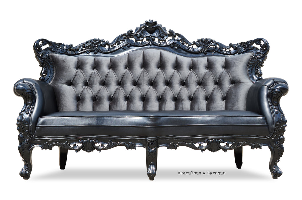 Belle de Fleur French Love Seat - Black Leather and Grey Velvet