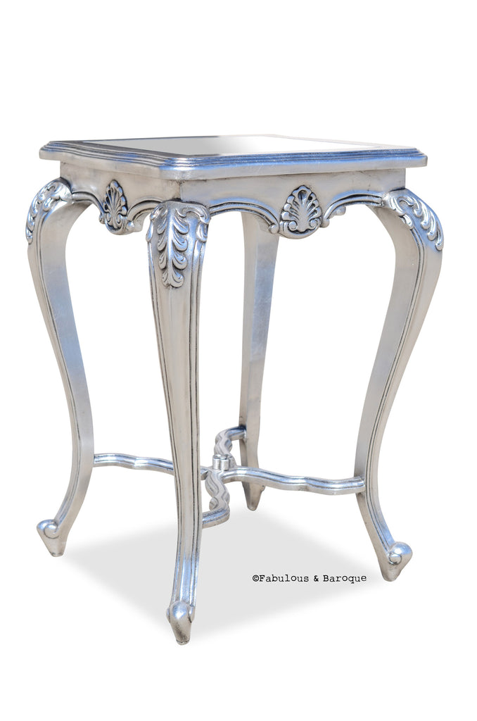 Lila Shabby Chic Side Table   Silver Leaf