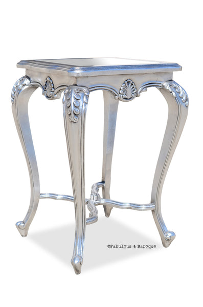 Lila Shabby Chic Side Table - Silver Leaf
