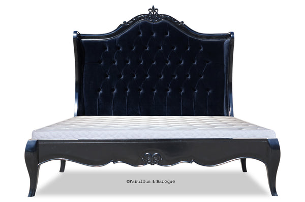 Amelie Tufted Black Upholstered Bed