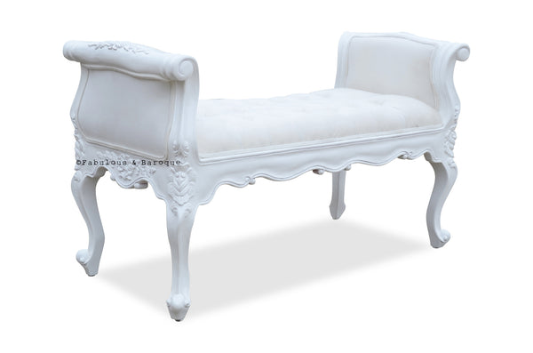 Isadora French Upholstered Bench White Fabulous And