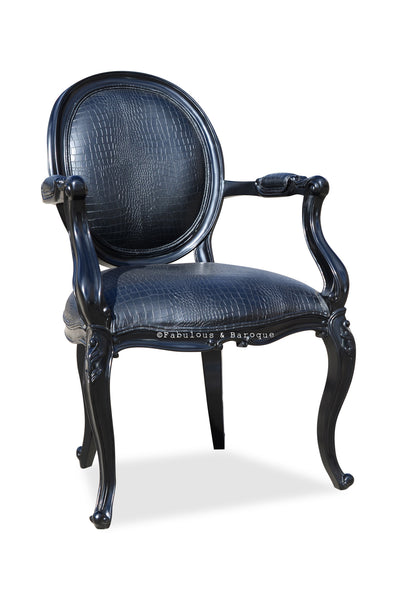 Angelique Armchair - Black Croc