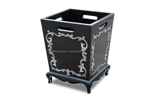 Arabella Baroque Waste Bin - Black & White