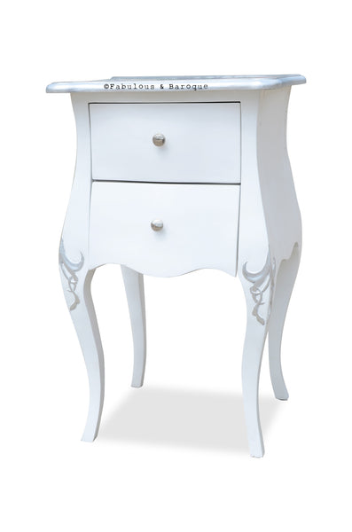 Amelie Side Table - White & Silver