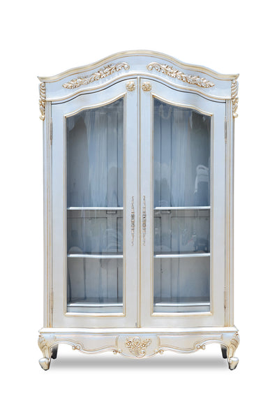 Giselle Glazed Two Door Bookcase or Display Case - Silver