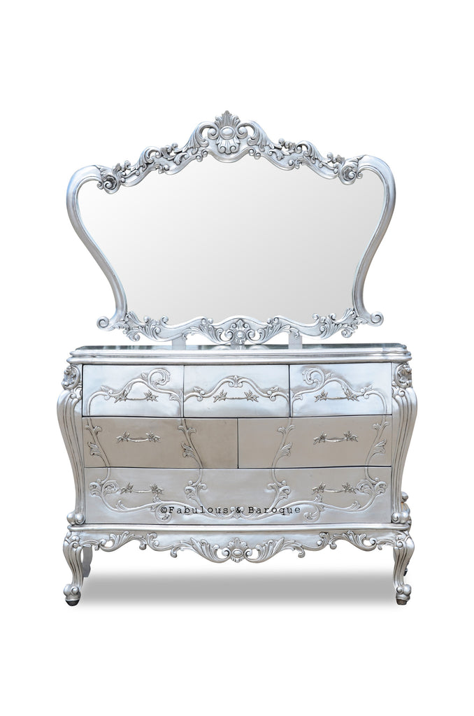 Absolom Chest of Drawers & Mirror - Silver leaf