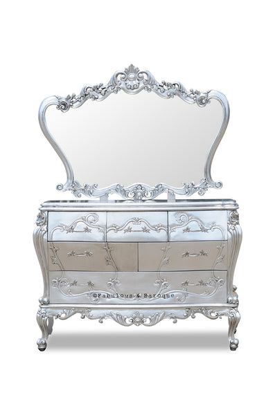 Gryphon Reine Chest of Drawers & Mirror - Silver leaf