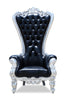 Gryphon Reine Chair - Black Leather & Silver Leaf - Black Crystals