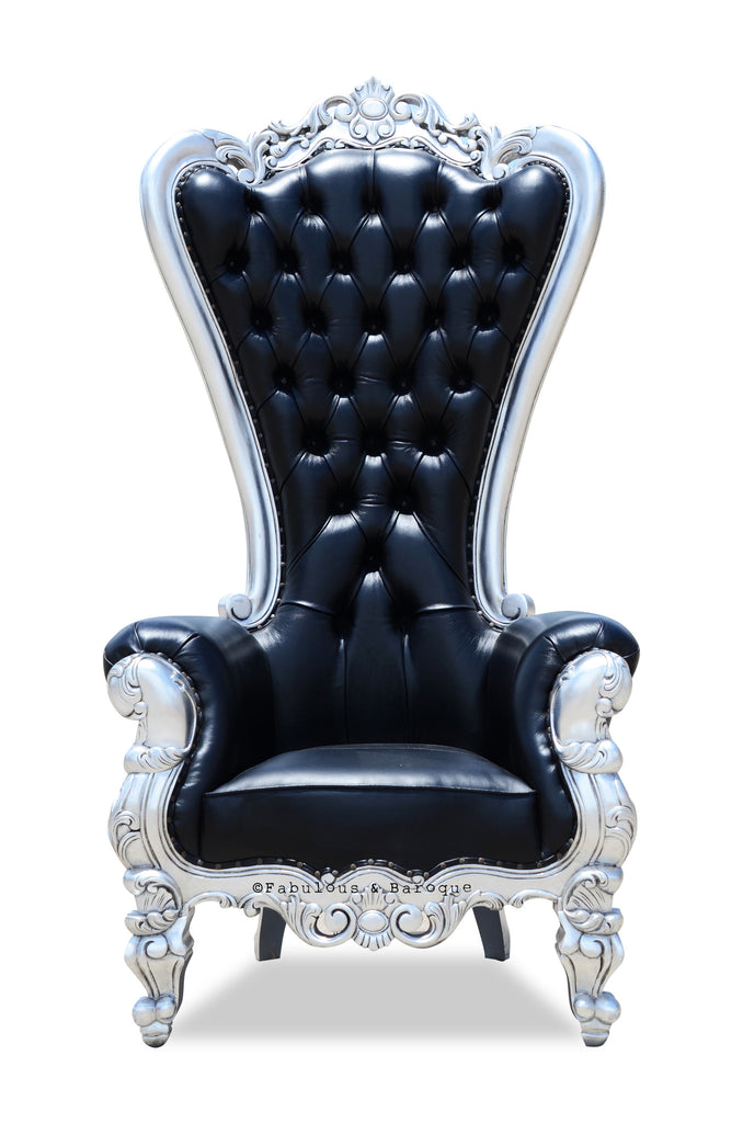 Absolom Roche Chair - Black Leather & Silver Leaf - Black Crystals