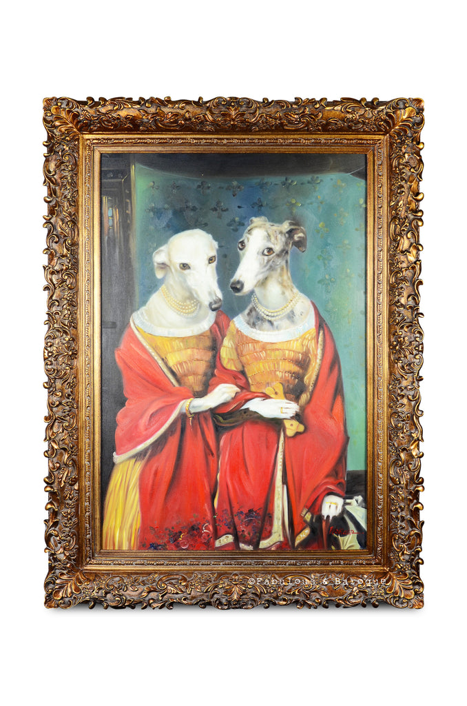 Baroque Portrait Painting - Doris & Darlene the Dogs