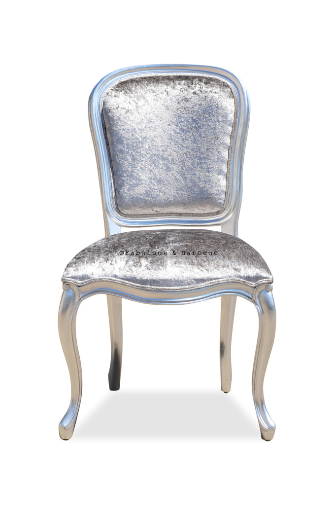 Fabulous French Side Chair   Silver U0026 Silver Velvet