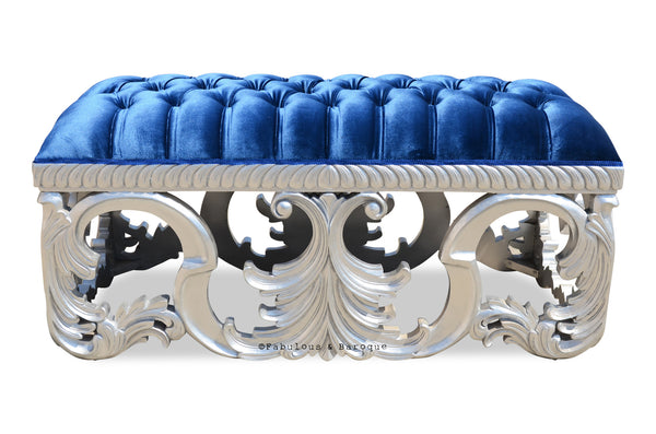 Simone Bench - Silver & Royal Blue