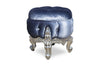 Gryphon Reine Dressing Table Pouf Chair - Silver & Grey