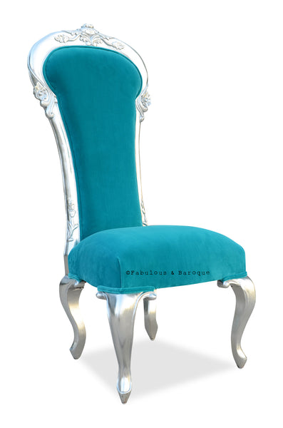 Dauphine Chair - Silver & Turquoise