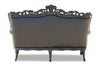 Belle de Fleur French Love Seat - Black Faux Leather
