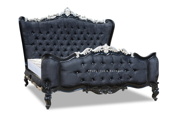 Gryphon Reine Upholstered Bed - Black & Silver