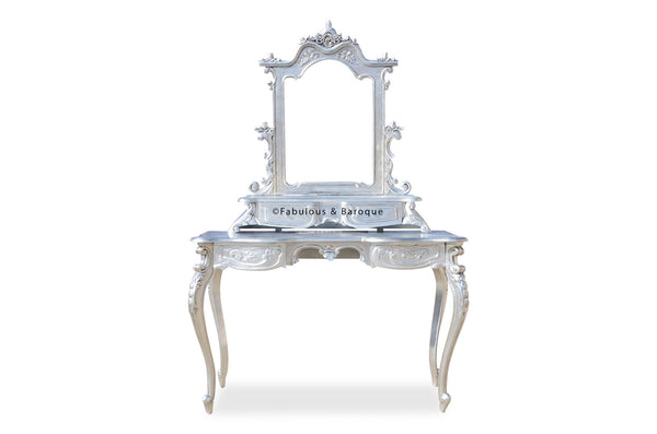 Anais Dressing Table & Mirror- Silver Leaf