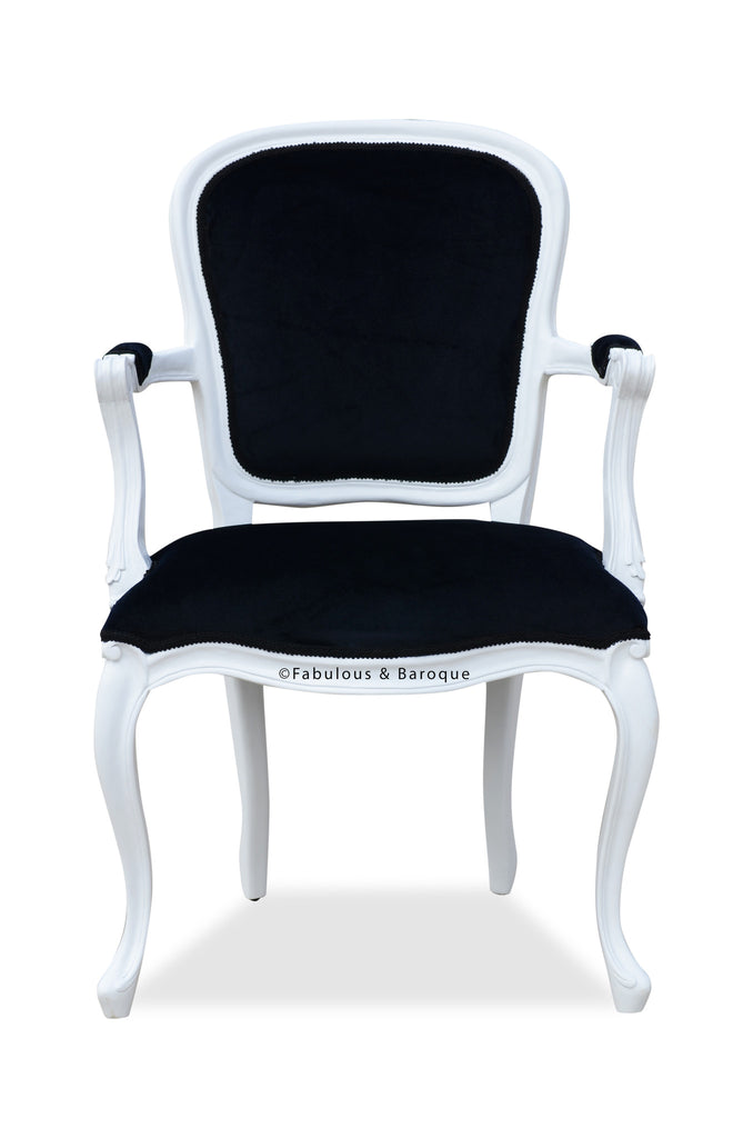 Swell Fabulous Baroques French Upholstered Armchair White Black Ibusinesslaw Wood Chair Design Ideas Ibusinesslaworg