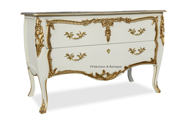Louis xv commode cream gold fabulous and baroque - Grande commode baroque ...