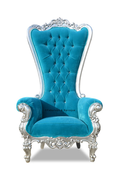 Absolom Roche Chair - Silver & Turquoise Velvet