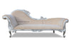 Queen Anne's Revenge Chaise - Silver & Cream Velvet