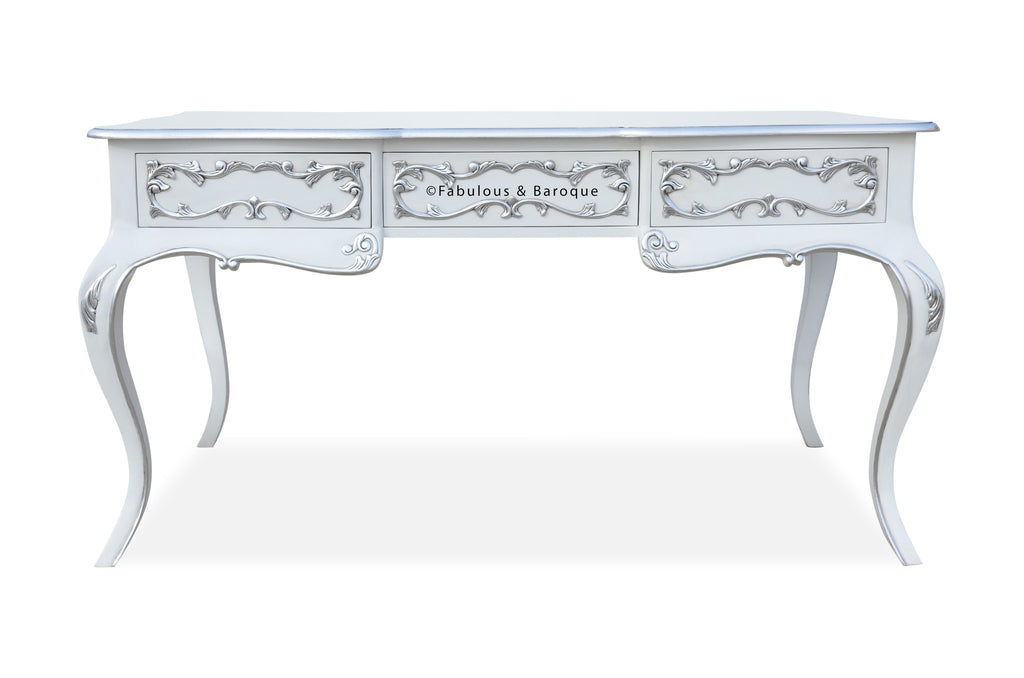 Amelie Writing Desk - White & Silver