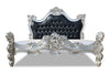 Royal Fortune Montespan Bed - Silver Leaf & Black Faux Leather