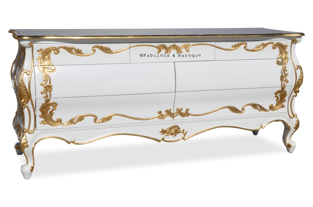 Night's Dream Chest of Drawers - White & Gold