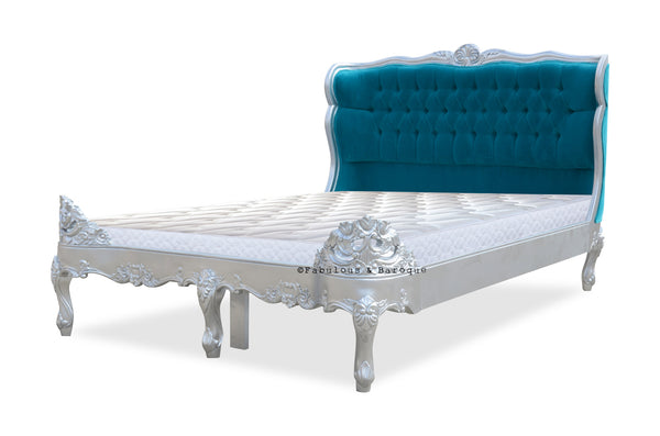 Genevieve Bed QUEEN size - Silver Lacquer & Turquoise