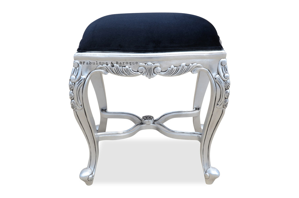 Fabulous French Dressing Table Stool   Silver Leaf