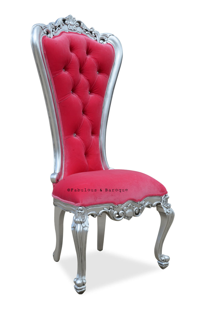 Gryphon Reine Side Chair - Silver & Fuchsia