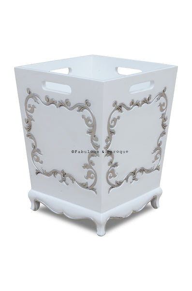 Arabella Baroque Waste Bin - White & Silver