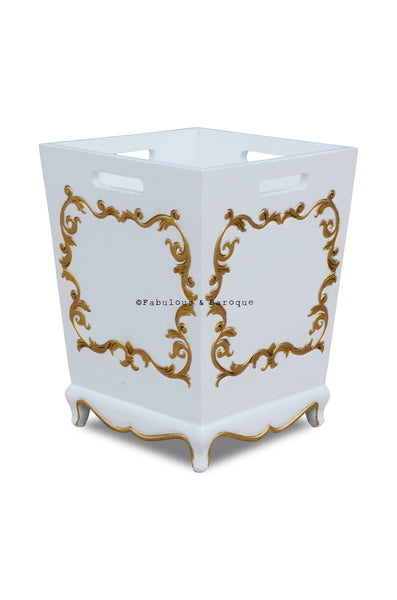 Arabella Baroque Waste Bin - White & Gold