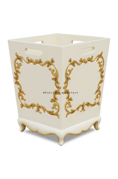 Arabella Baroque Waste Bin - Ivory & Gold