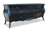 Bordeaux Bombay 6 ft Chest of Drawers  - Black & Aqua Mist