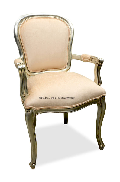 French Upholstered Armchair - Silver Leaf & Cream Velvet