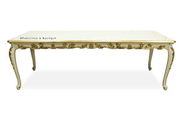 Versailles 8' Dining Table - Ivory & Gold