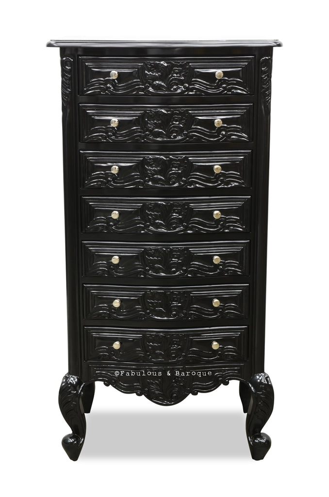 Frederique 7 Drawer Accessory Chest  Black