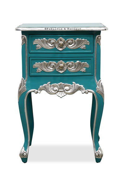 Cosette 2 Drawer Side Table - Aqua Blue & Silver