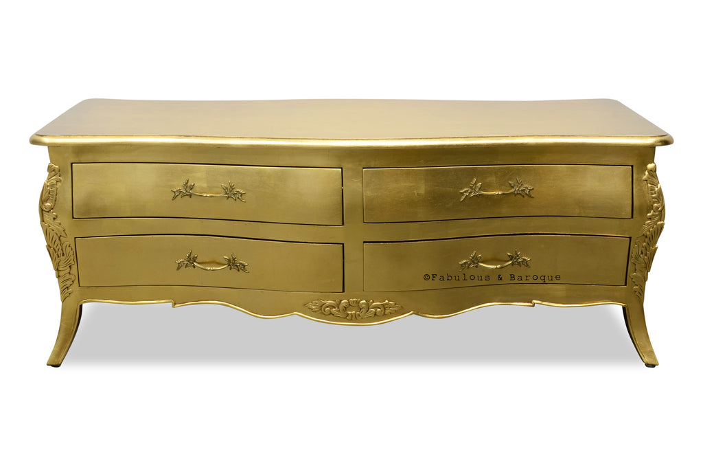 Bordeaux 8 Drawer Coffee Table   Gold